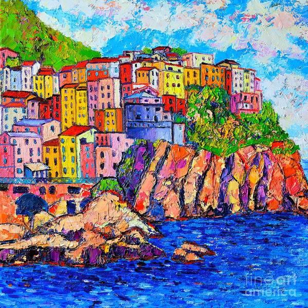 Painting - Manarola Cinque Terre Italy Detail by Ana Maria Edulescu