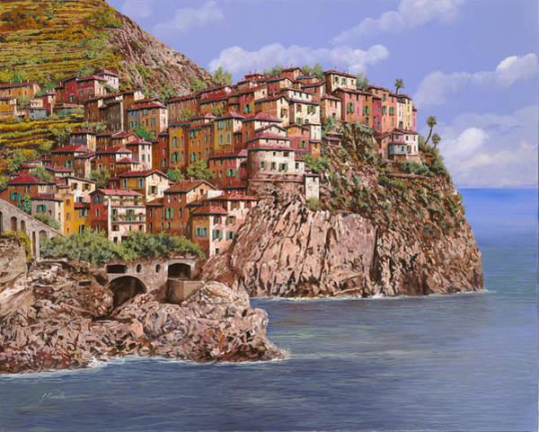 Wall Art - Painting - Manarola   by Guido Borelli