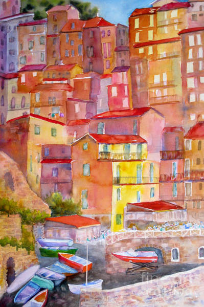Narrow Boat Wall Art - Painting - Manarola Italy by Mohamed Hirji