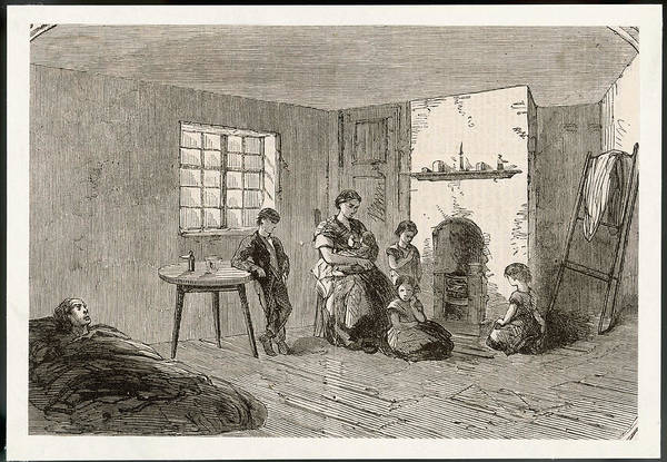 Manchester Drawing - Manchester  A Family In Their Slum Home by  Illustrated London News Ltd/Mar