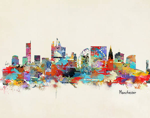 Manchester City Wall Art - Painting - Manchester England Skyline by Bri Buckley