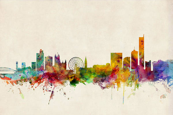Watercolour Digital Art - Manchester England Skyline by Michael Tompsett