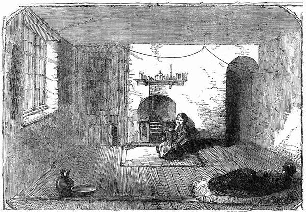 Manchester Drawing - Manchester  Interior Of A  Slum by  Illustrated London News Ltd/Mar