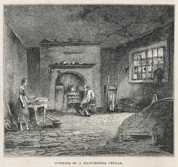 Manchester Drawing - Manchester  Interior Of A  Slum by Mary Evans Picture Library