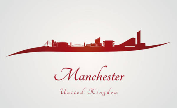 Manchester Skyline Wall Art - Photograph - Manchester Skyline In Red by Pablo Romero