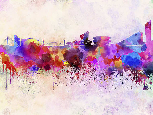 Manchester Skyline Wall Art - Digital Art - Manchester Skyline In Watercolor Background by Pablo Romero