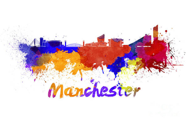 Manchester Skyline Wall Art - Painting - Manchester Skyline In Watercolor by Pablo Romero