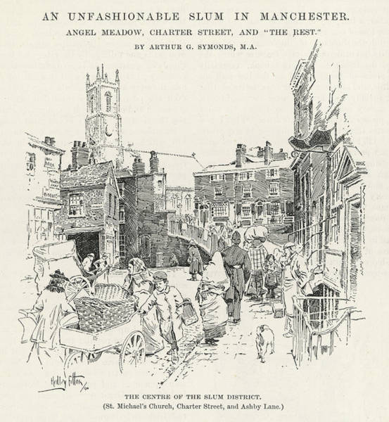 Manchester Drawing - Manchester  Street Scene Near  Charter by Mary Evans Picture Library