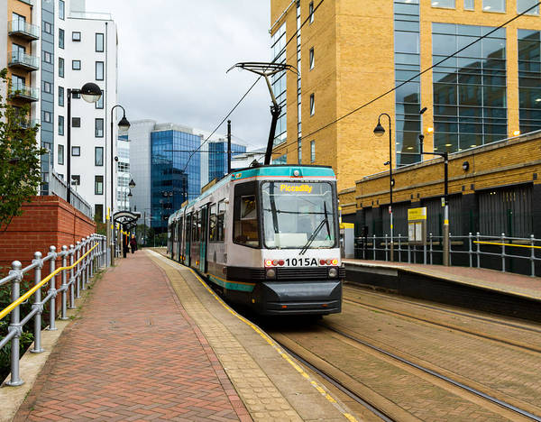 Greater Manchester Wall Art - Photograph - Manchester Tram At Exchange Quay by Dave Lee