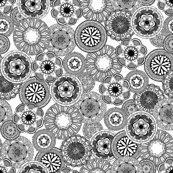 Wall Art - Painting - Mandala Cirque Black White by MGL Meiklejohn Graphics Licensing