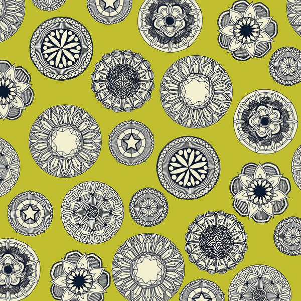 Wall Art - Painting - Mandala Cirque Spot Chartreuse by MGL Meiklejohn Graphics Licensing