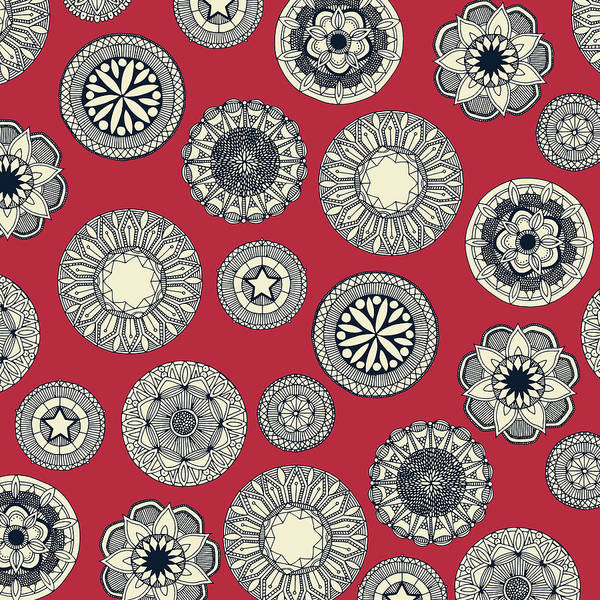 Wall Art - Painting - Mandala Cirque Spot Red by MGL Meiklejohn Graphics Licensing