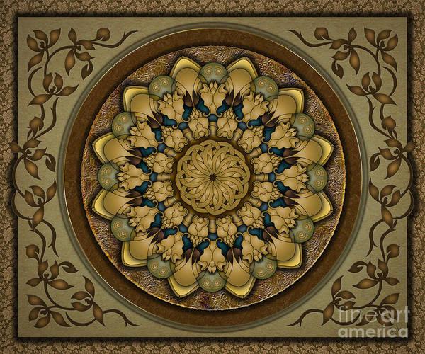 Dark Olive Green Wall Art - Digital Art - Mandala Earth Shell Sp by Peter Awax