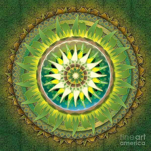 Mystic Digital Art - Mandala Green by Peter Awax