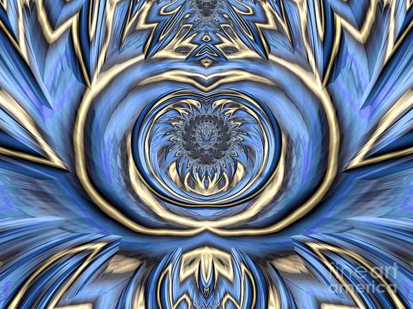 Wall Art - Digital Art - Mandala In Blue And Gold by John Edwards