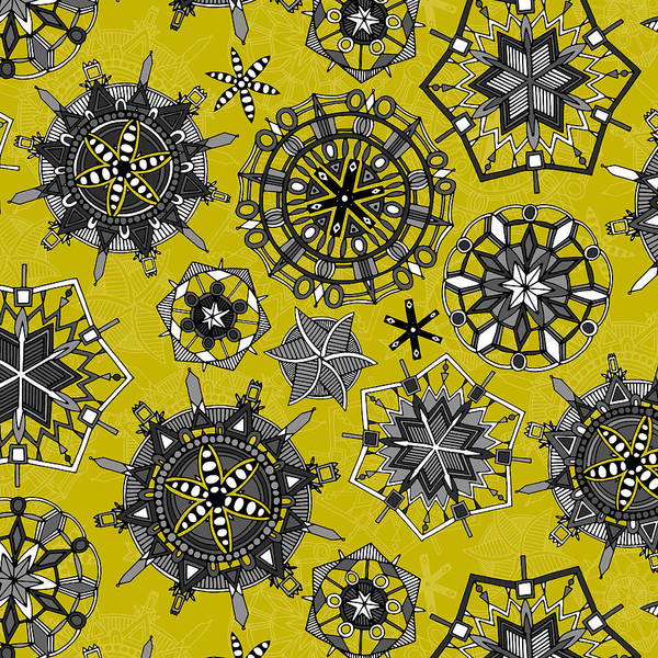 Wall Art - Painting - Mandala Snowflakes Chartreuse by MGL Meiklejohn Graphics Licensing