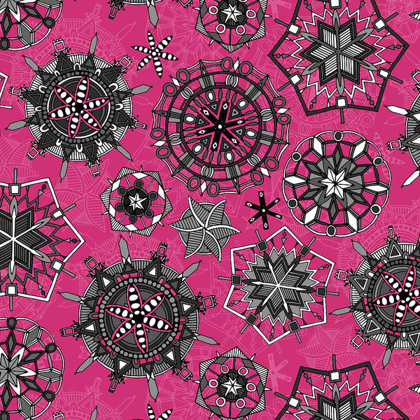Wall Art - Painting - Mandala Snowflakes Pink by MGL Meiklejohn Graphics Licensing
