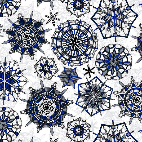 Wall Art - Painting - Mandala Snowflakes by MGL Meiklejohn Graphics Licensing