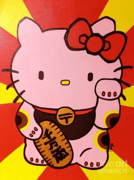 Hello Kitty Wall Art - Painting - Maneki Hello Kitty by Jin Kai