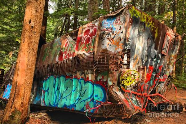 Photograph - Mangled Whistler Train Wreck Box Car by Adam Jewell