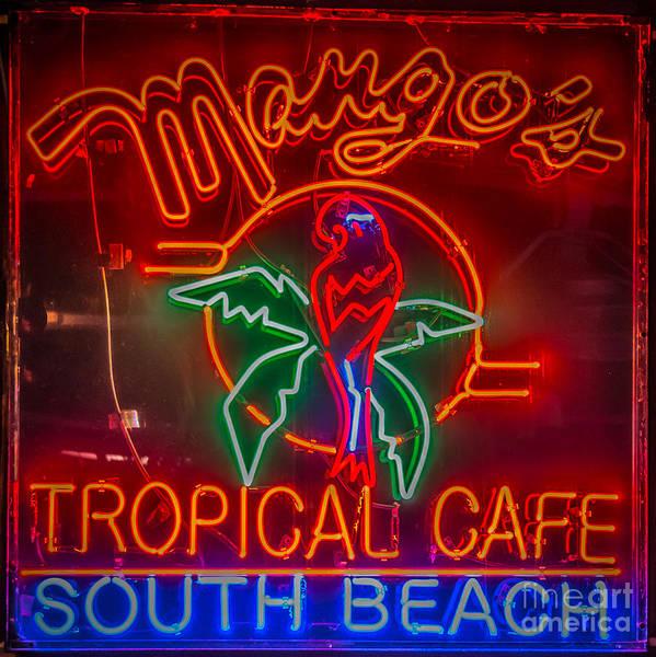 Mango Photograph - Mango's South Beach Miami - Hdr Style - Square by Ian Monk