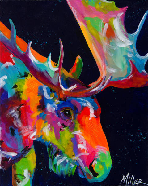 Colorado Wildlife Wall Art - Painting - Mangy Moose by Tracy Miller