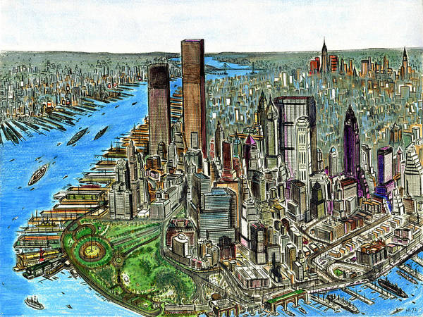 Painting - New York Downtown Manhattan 1972 by Peter Potter