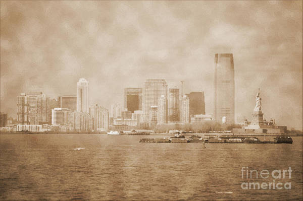 Photograph - Manhattan And Liberty Island Vintage by RicardMN Photography