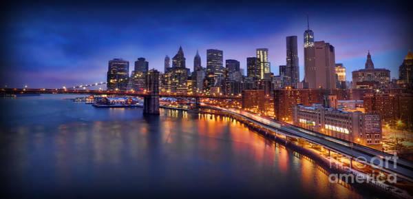 Wall Art - Photograph - Manhattan At Dawn - Brooklyn Bridge by Lee Dos Santos