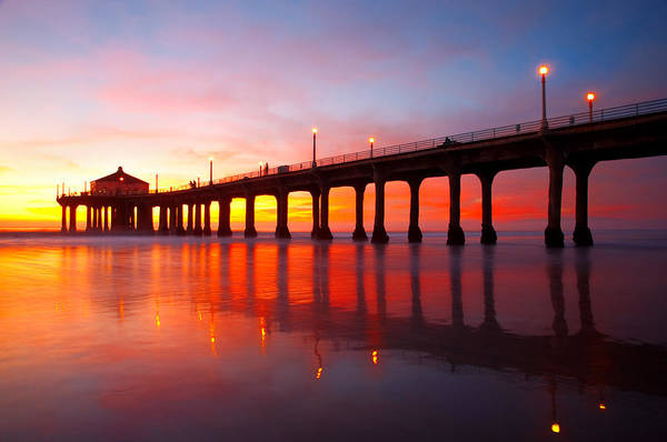 Photograph - Manhattan Beach Pier by Darren Bradley