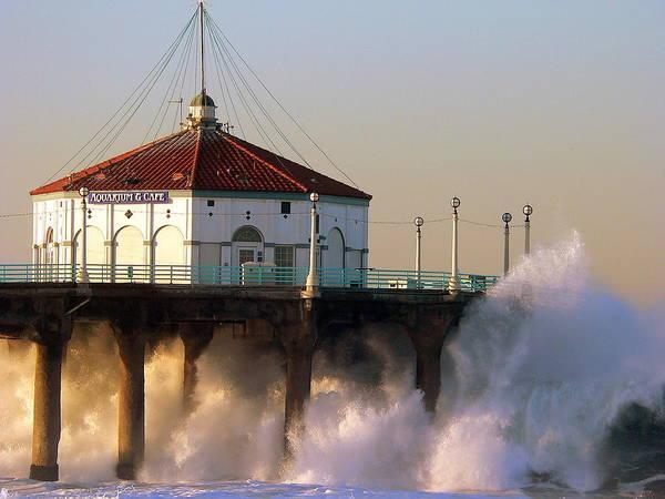 Photograph - Manhattan Beach Pier Storm Waves by Jeff Lowe