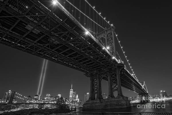 Liberty Bridge Photograph - Manhattan Bridge 911 Bnw by Michael Ver Sprill