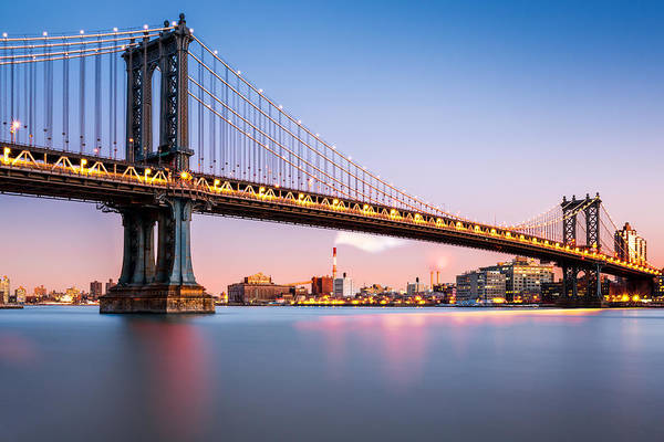 Photograph - Manhattan Bridge At Dusk by Mihai Andritoiu