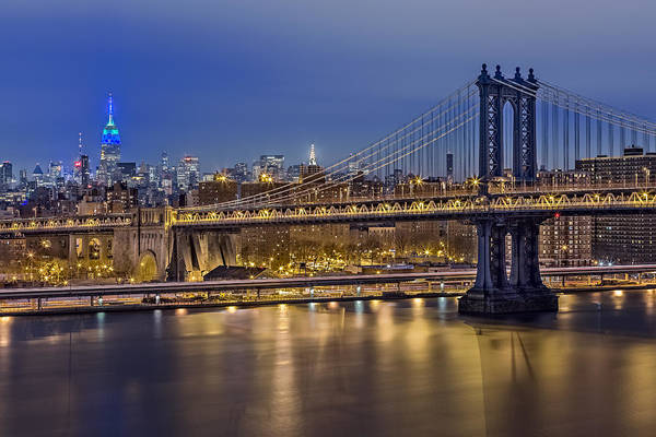 Midtown Manhattan Digital Art - Manhattan Bridge by Eduard Moldoveanu