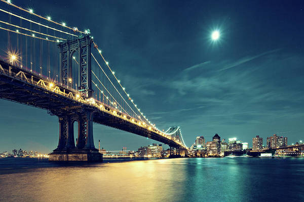 Photograph - Manhattan Bridge In Night With Moon by Ricowde