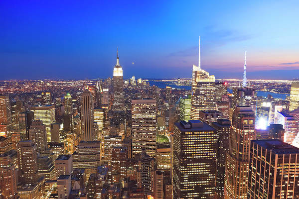 Looking Down Photograph - Manhattan By Night by Pawel.gaul