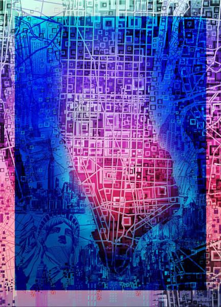 Manhattan Skyline Painting - Manhattan Map Abstract 5 by Bekim Art