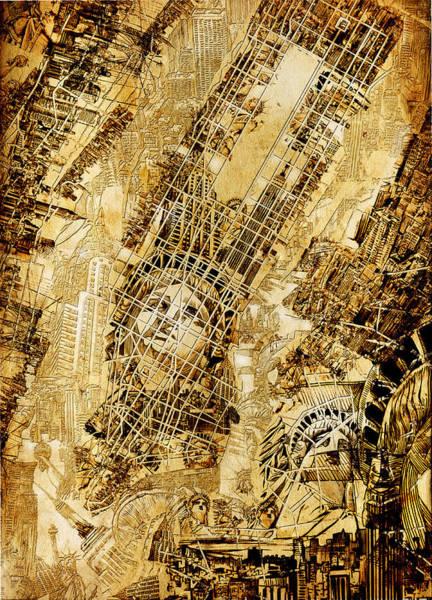 Manhattan Skyline Painting - Manhattan Map Antique by Bekim Art