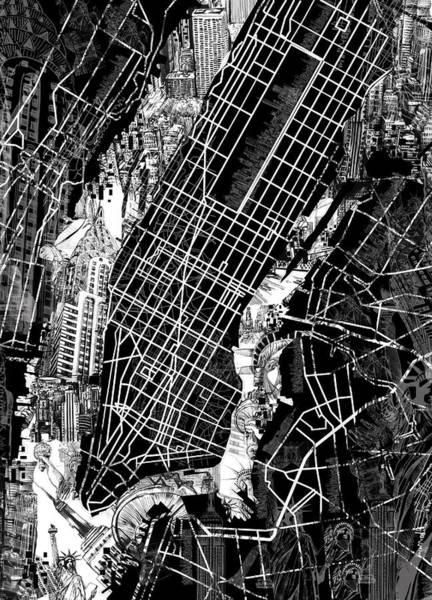 Manhattan Skyline Painting - Manhattan Map Black And White by Bekim Art