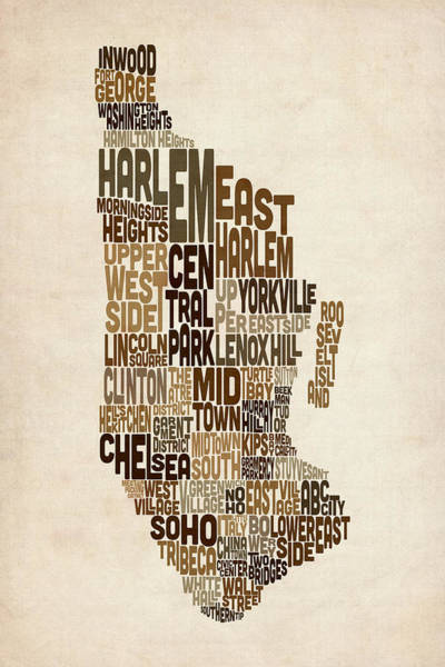 Manhattan New York Typography Text Map Art Print by Michael Tompsett