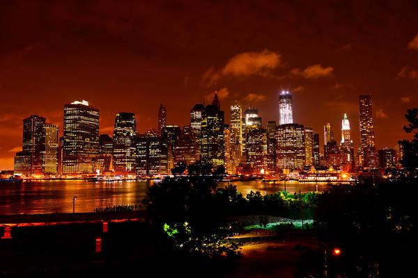 Photograph - Manhattan Night Skyline by Greg Norrell