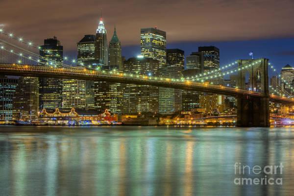 Photograph - Manhattan Night Skyline IIi by Clarence Holmes
