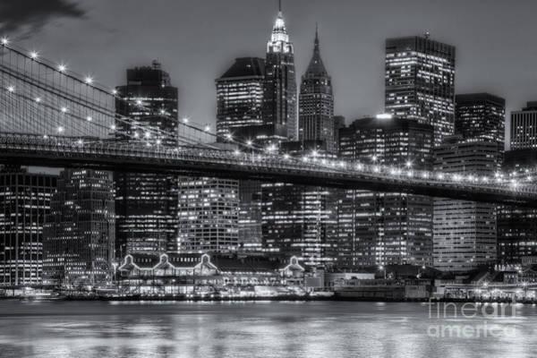 Photograph - Manhattan Night Skyline V by Clarence Holmes