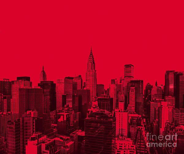 Wall Art - Photograph - Manhattan Skyline In Red by Diane Diederich