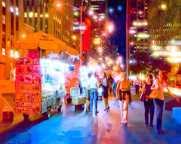 Photograph - Manhattan Streets At Night by Mark E Tisdale