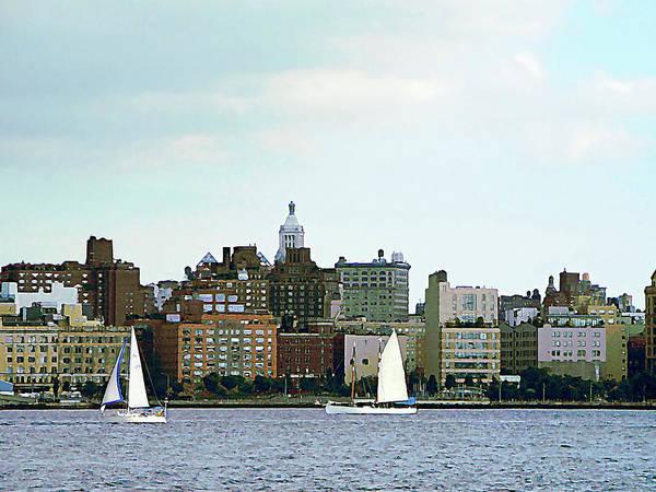 Photograph - Manhattan - Two Sailboats Against Manhattan Skyline by Susan Savad