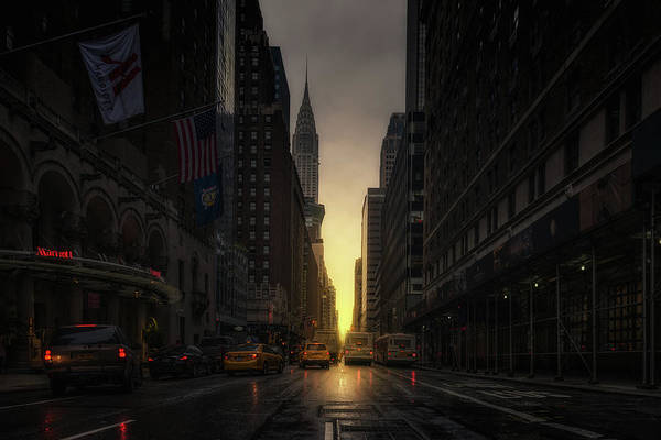 Yellow Taxi Photograph - Manhattanhenge by David Mart?n Cast?n
