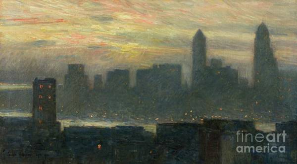 Nyc Skyline Painting - Manhattans Misty Sunset by Childe Hassam