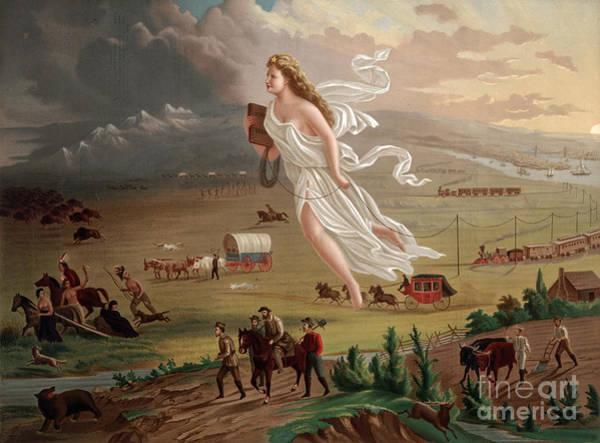 Stagecoach Photograph - Manifest Destiny 1873 by Photo Researchers