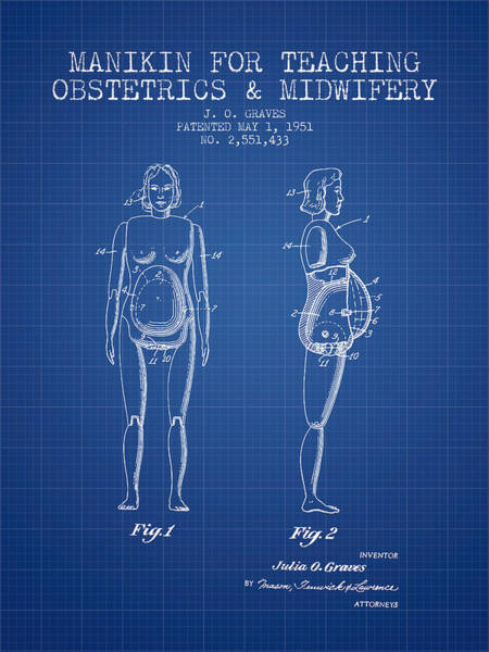 Birth Digital Art - Manikin For Teaching Obstetrics And Midwifery Patent From 1951 - by Aged Pixel